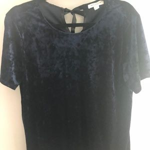 Large Navy Dress Top - Velour/Velvet feel